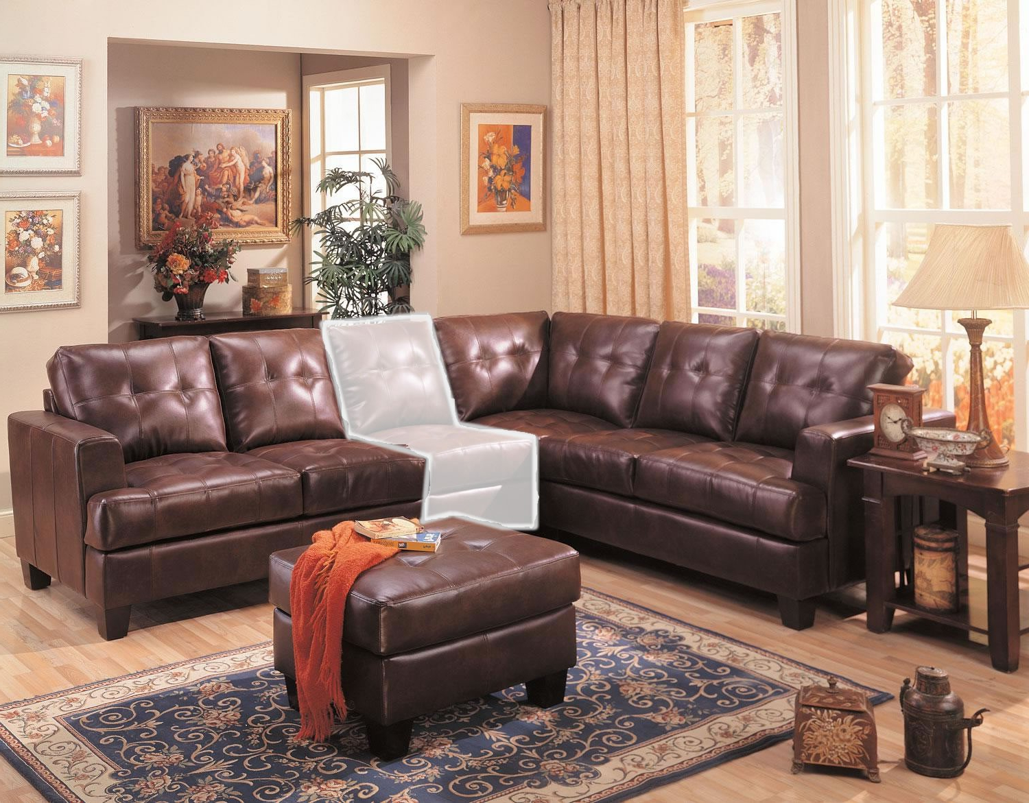 Most Current Samuel 3 Piece Brown Leather Sectional Sofa From Coaster For 3Pc Faux Leather Sectional Sofas Brown (View 14 of 25)