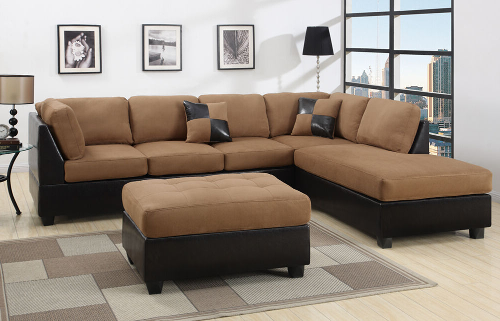 Most Current Sectional Sectionals Sofa Couch Loveseat Couches With Free Intended For Bonded Leather All In One Sectional Sofas With Ottoman And 2 Pillows Brown (View 3 of 25)