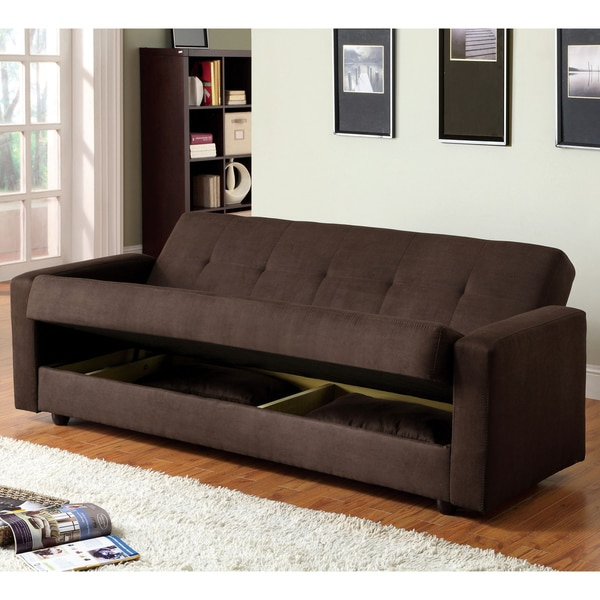Most Current Shop Furniture Of America Cozy Microfiber Futon Sofa Bed With Liberty Sectional Futon Sofas With Storage (View 8 of 25)