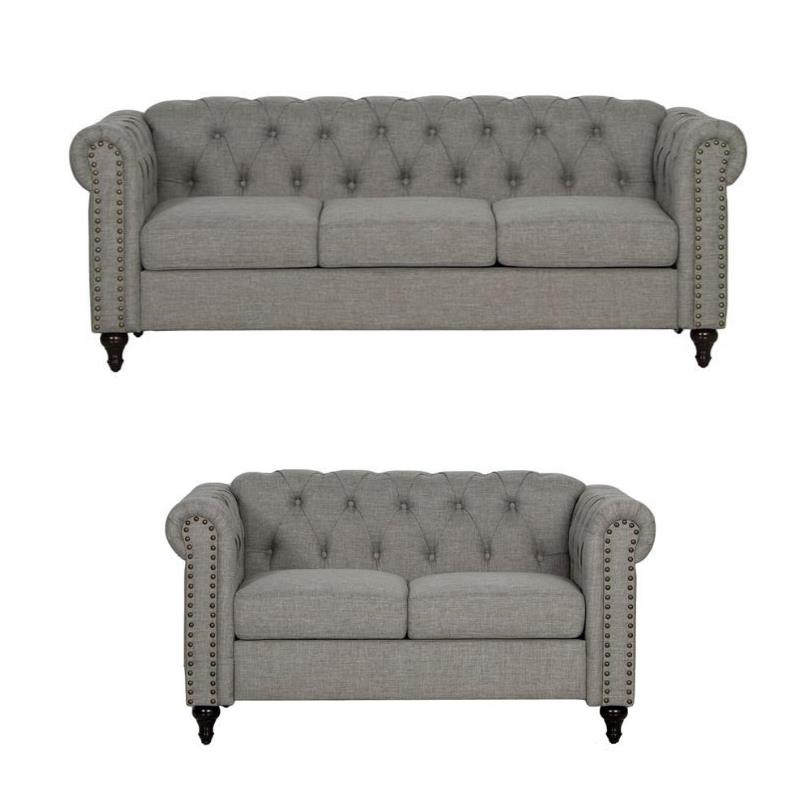 Most Popular 2Pc Polyfiber Sectional Sofas With Nailhead Trims Gray Throughout 2 Piece Nailhead Trim Sofa And Loveseat Set In Gray (View 16 of 25)