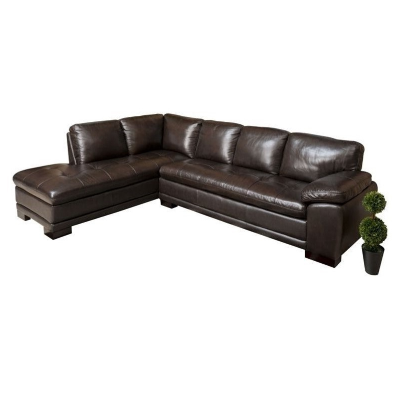 Most Popular Abbyson Tekana Leather Sectional In Dark Brown – Ci N680 Brn With Bonded Leather All In One Sectional Sofas With Ottoman And 2 Pillows Brown (View 15 of 25)
