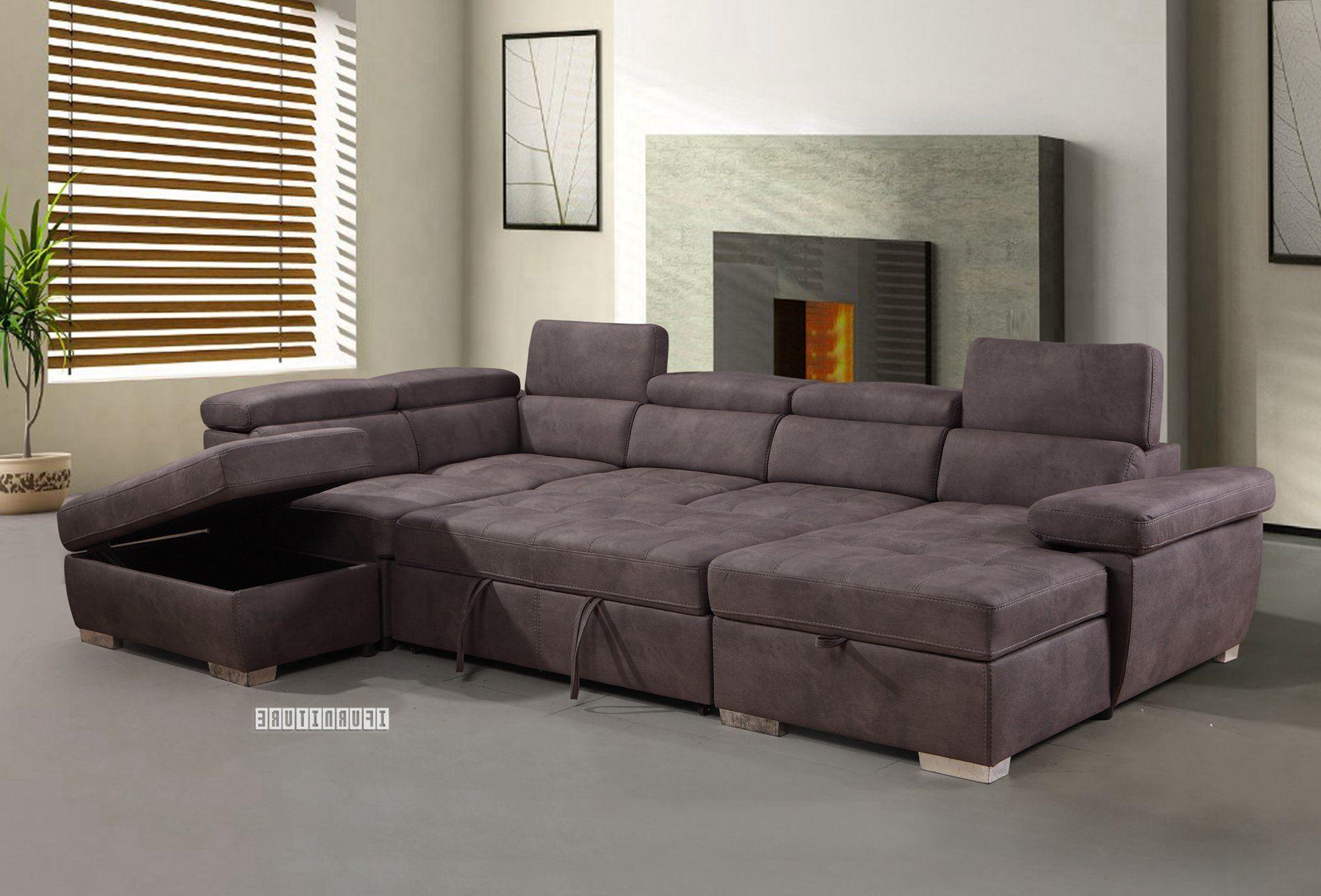 Most Popular Amando Sectional Sofa/ Sofa Bed With Storage *Titanium Grey Throughout Hartford Storage Sectional Futon Sofas (View 12 of 25)