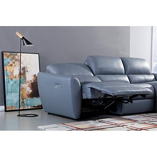 Most Popular American Eagle Furniture Italian Leather Sectional In Blue Within Harmon Roll Arm Sectional Sofas (View 10 of 25)