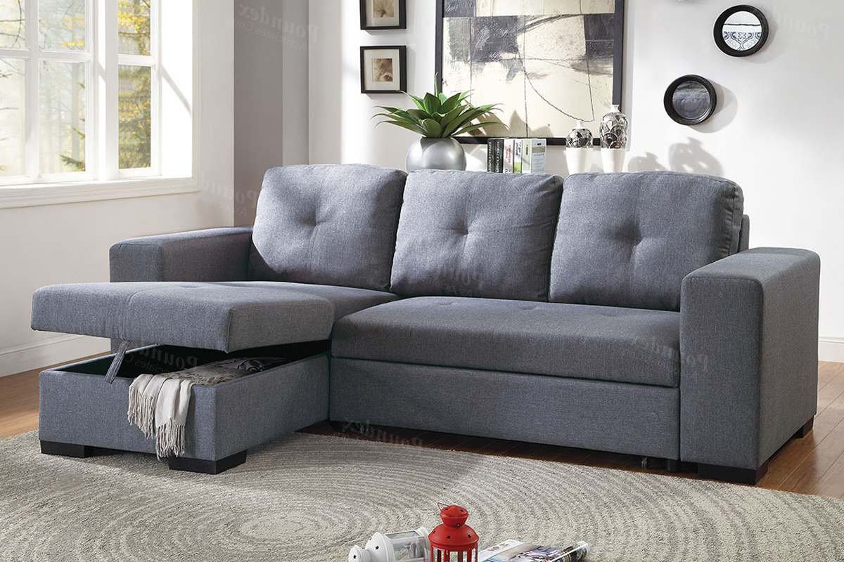 Most Popular Blue Grey Polyfiber Convertible Sectional Couch Sofa Bed Within Molnar Upholstered Sectional Sofas Blue/Gray (View 3 of 25)