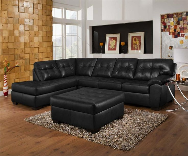 Most Popular Bonded Leather All In One Sectional Sofas With Ottoman And 2 Pillows Brown Regarding Living Room Decorating Ideas With Black Leather Sofa (View 2 of 25)