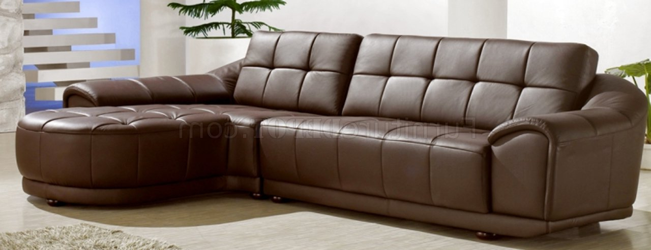Most Popular Chocolate Brown Bonded Leather Modern Stylish Sectional Sofa Regarding 3Pc Bonded Leather Upholstered Wooden Sectional Sofas Brown (View 5 of 25)