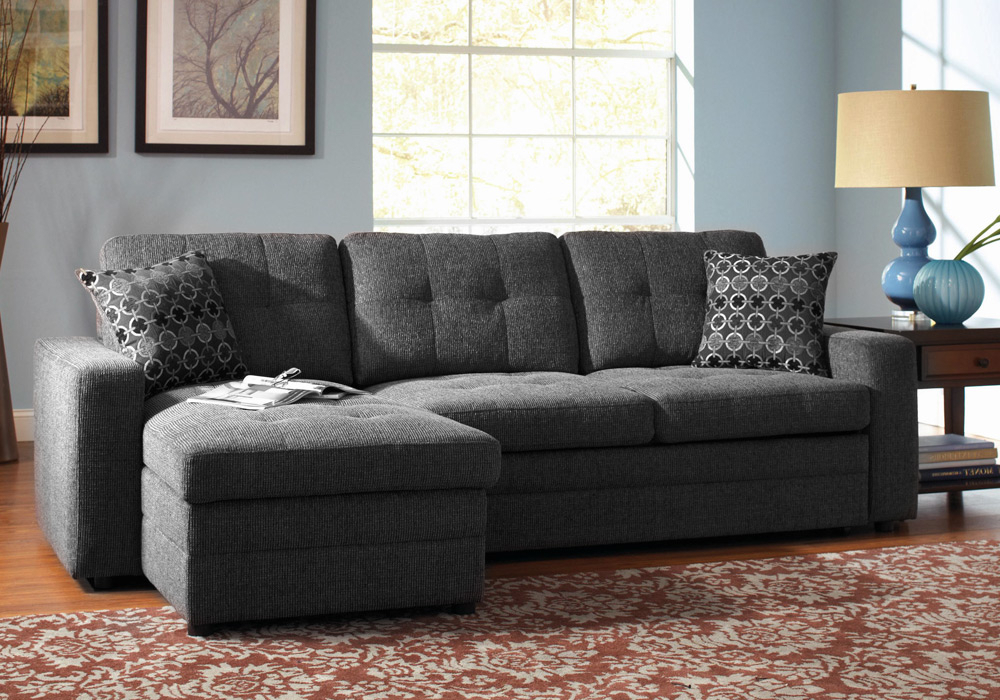 Most Popular Hugo Chenille Upholstered Storage Sectional Futon Sofas Throughout Gus Sectional Sofa W/ Pull Out Bed Storage Chaise Charcoal (View 2 of 25)