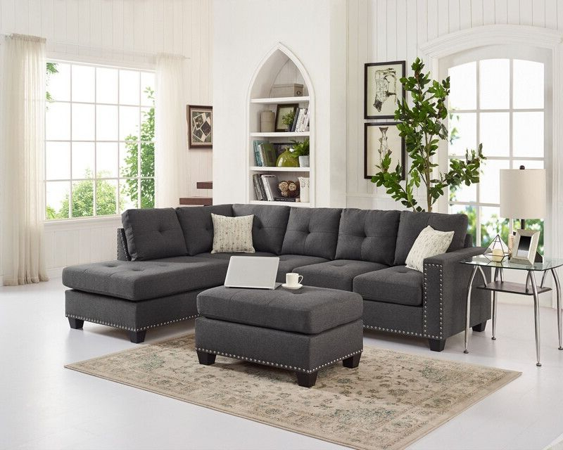 Most Popular Oah D6137 3 Pc Latitude Run Menendez Steel Gray Linen Like With Regard To 2Pc Polyfiber Sectional Sofas With Nailhead Trims Gray (View 22 of 25)