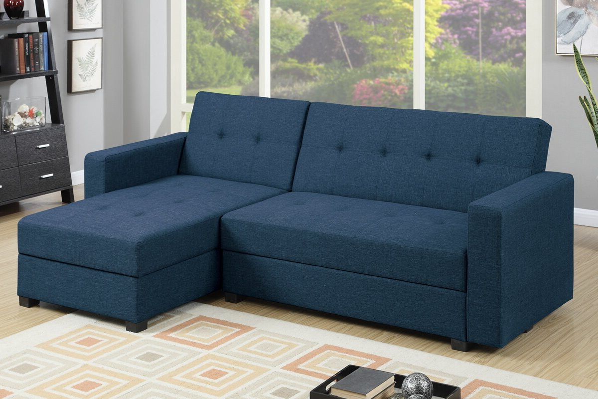 Most Popular Poundex L Shaped Reversible Sleeper Sectional For Small Regarding Copenhagen Reversible Small Space Sectional Sofas With Storage (View 11 of 25)