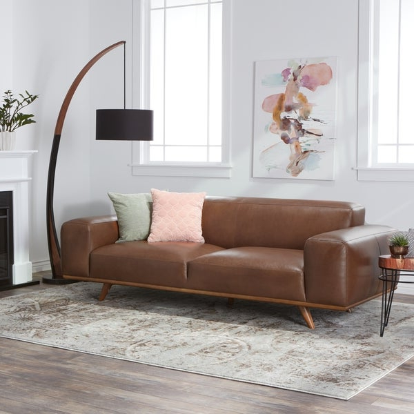 Most Popular Shop Jasper Laine Dante Italian Oxford Tan Leather Sofa Regarding Celine Sectional Futon Sofas With Storage Camel Faux Leather (View 13 of 25)