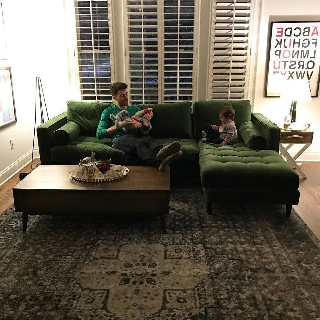 Most Popular Somerset Velvet Mid Century Modern Right Sectional Sofas Pertaining To Sven Grass Green Left Sectional Sofa – Sectionals (View 22 of 25)