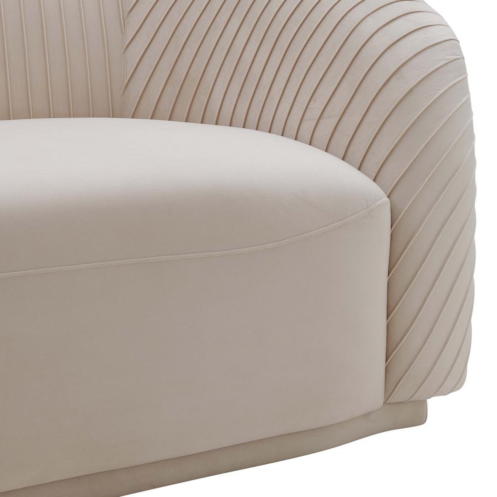 Most Popular Yara Pleated Beige Velvet Sofa (Oversized)Tov Furniture In Strummer Velvet Sectional Sofas (View 21 of 25)