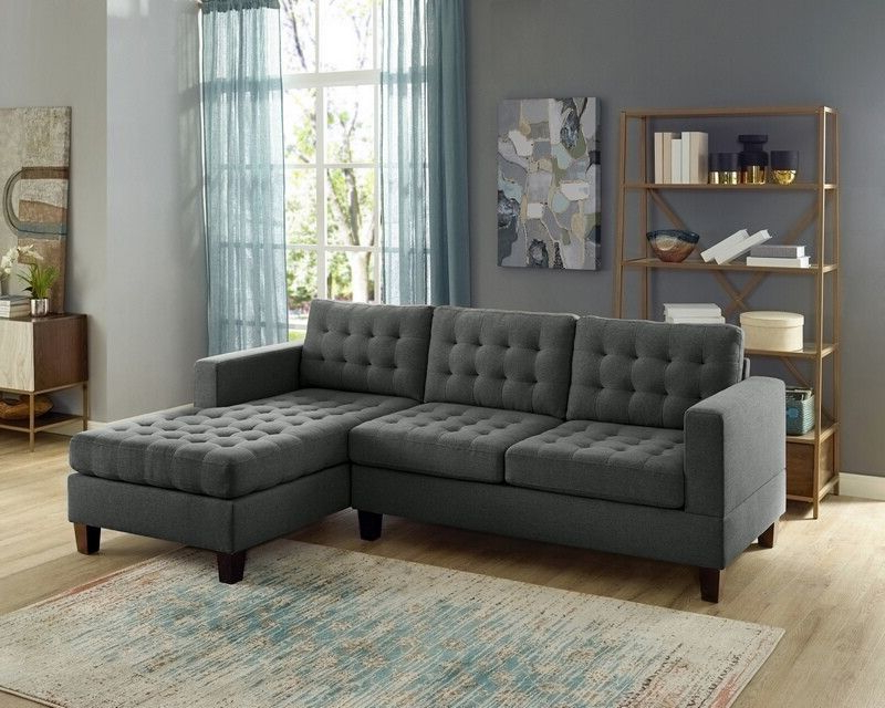 Most Recent 2Pc Connel Modern Chaise Sectional Sofas Black Inside Oah D6119 2 Pc Clao Ash Black Linen Like Fabric Reversible (View 4 of 25)