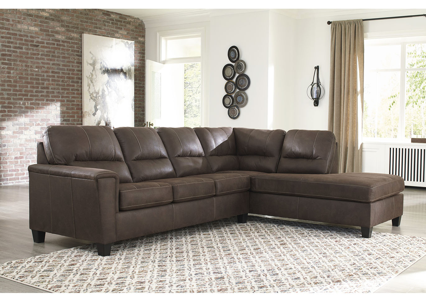 Most Recent 2Pc Maddox Left Arm Facing Sectional Sofas With Chaise Brown Throughout Navi Chestnut Left Arm Facing Sofa Chaise All Brands (View 2 of 25)