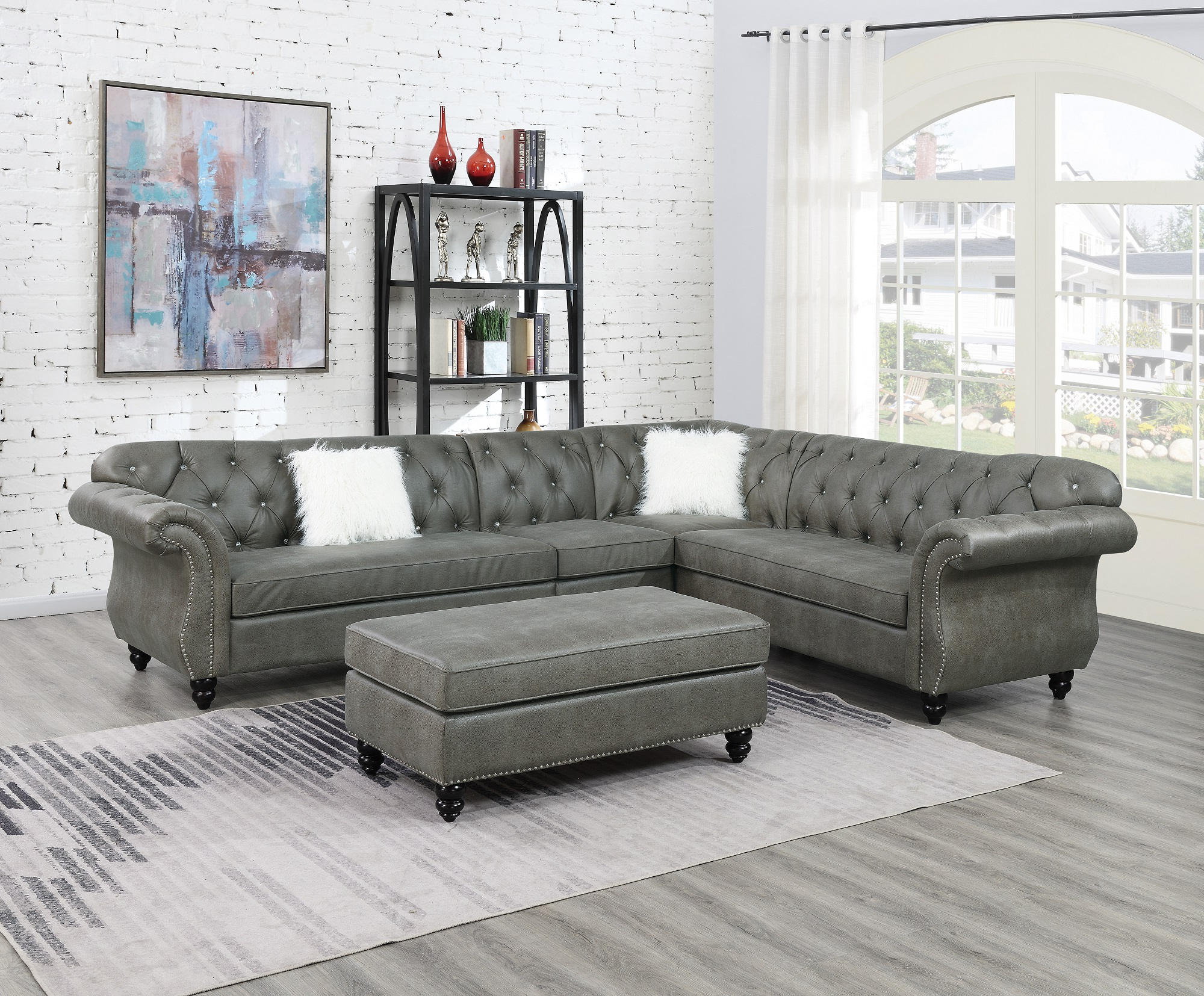 Most Recent 4Pc Beckett Contemporary Sectional Sofas And Ottoman Sets Regarding Contemporary Modern Living Room Sectional Sofa Set Slate (View 2 of 25)