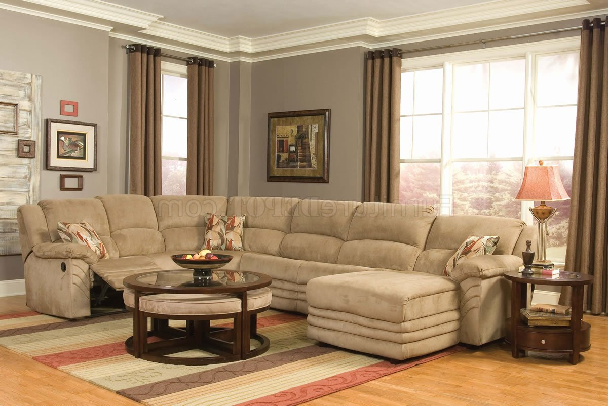 Most Recent Beige Microfiber Cozy Sectional W/Reclining Chaise Within Live It Cozy Sectional Sofa Beds With Storage (View 25 of 25)