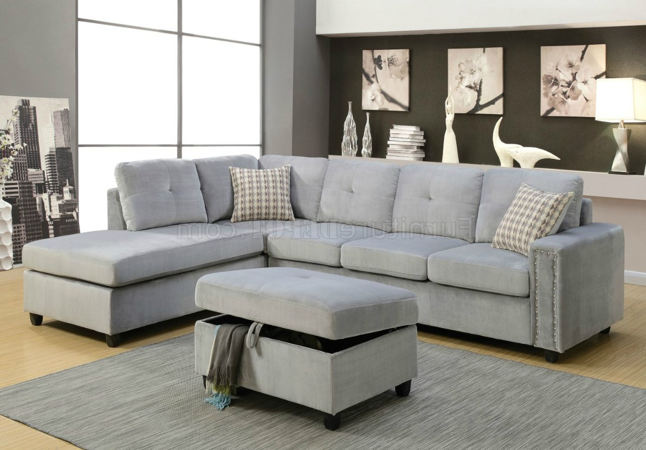 Most Recent Belville Sectional Sofa 52710 In Gray Velvetacme W/Options With Regard To Gray Sofas (View 7 of 15)