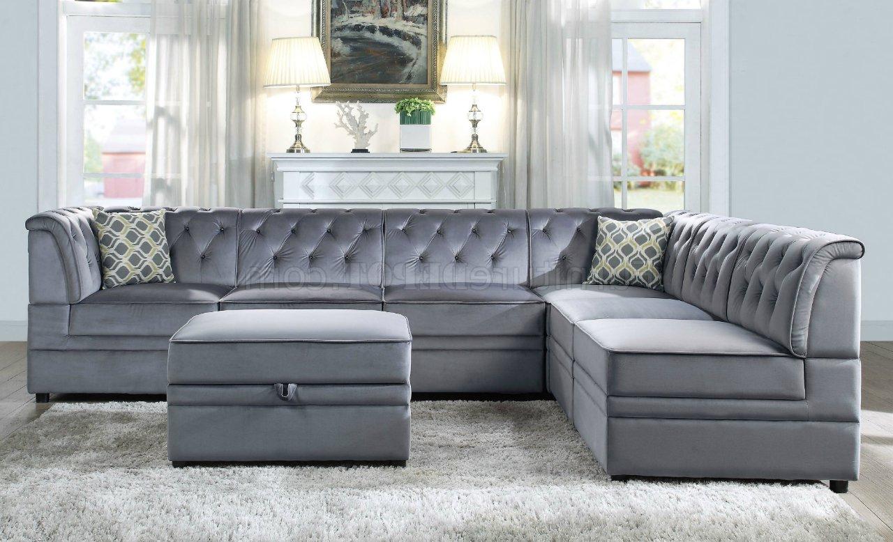 Most Recent Bois Ii Modular Sectional Sofa 7Pc Set 53305 Gray Velvet Regarding Strummer Velvet Sectional Sofas (View 2 of 25)