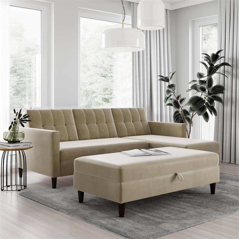 Most Recent Dhp Hartford Storage Sectional Futon And Storage Ottoman Within 3Pc Hartford Storage Sectional Futon Sofas And Hartford Storage Ottoman Tan (View 2 of 23)