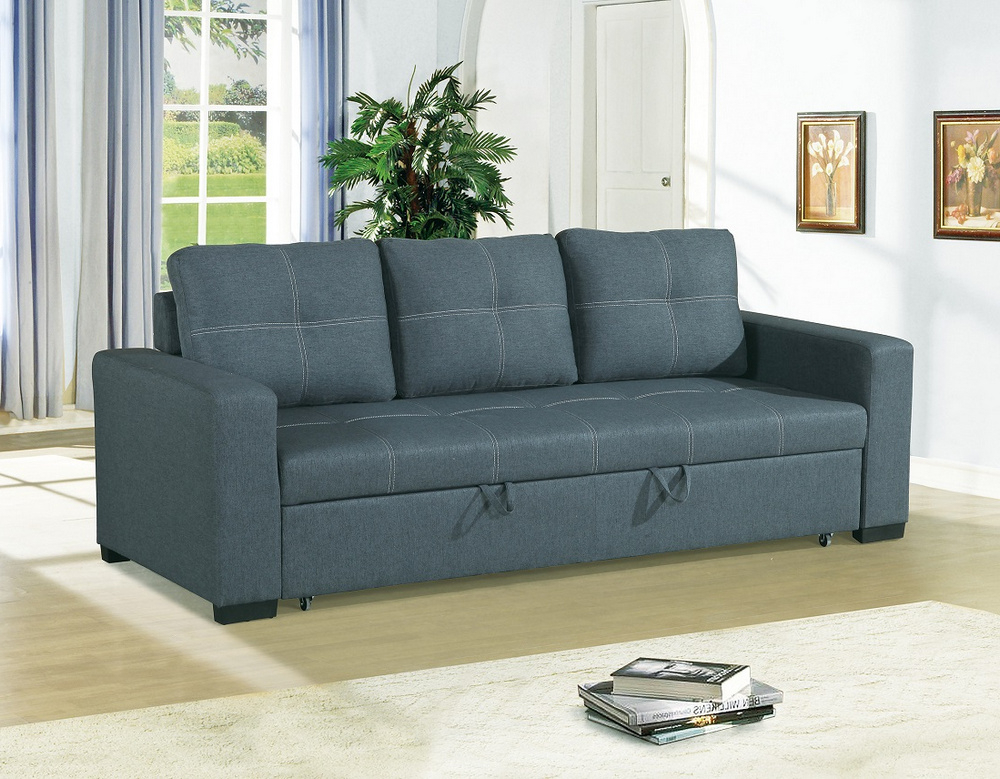 Most Recent Dionisia Blue Grey Linen Like Fabric Convertible Sofa Within Polyfiber Linen Fabric Sectional Sofas Dark Gray (View 5 of 25)
