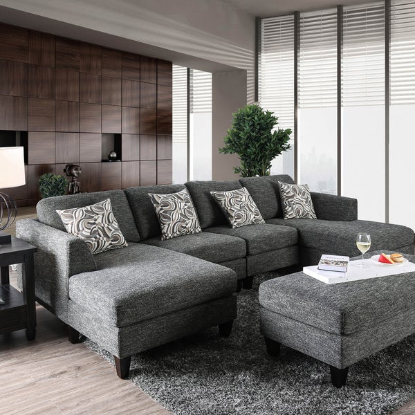 Most Recent Furniture Of America Lauf Modern Grey 4 Piece Modular Inside Noa Sectional Sofas With Ottoman Gray (View 24 of 25)