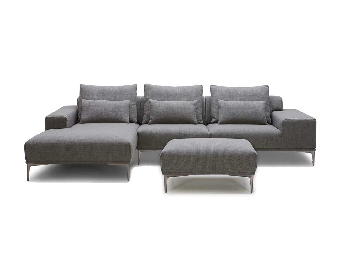 Most Recent Grey Fabric Sectional Sofa With Ottoman Vg (View 20 of 25)