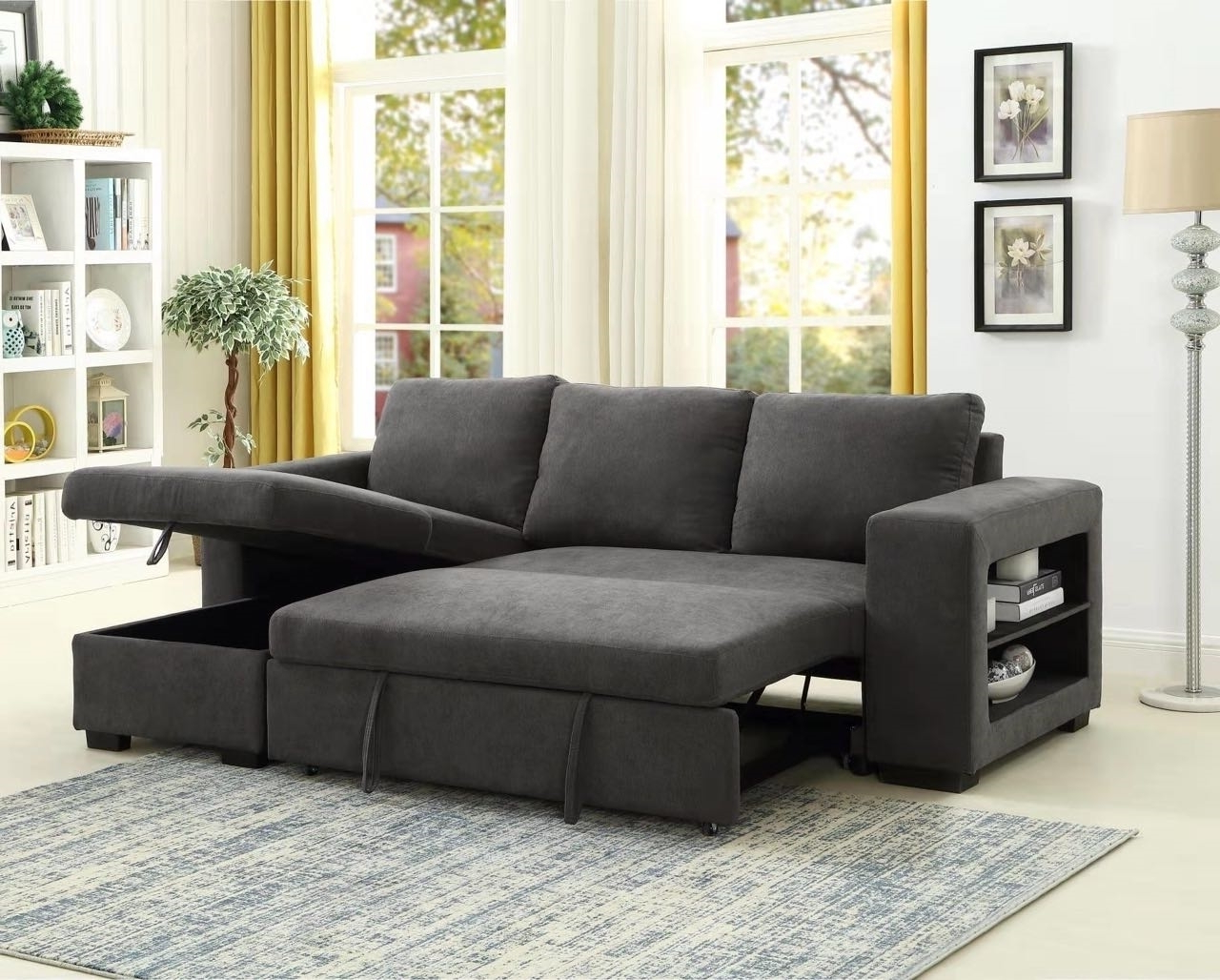 Most Recent Hartford Storage Sectional Futon Sofas With Lucena Reversible Sectional Sofa/Sofa Bed With Storage (View 10 of 25)