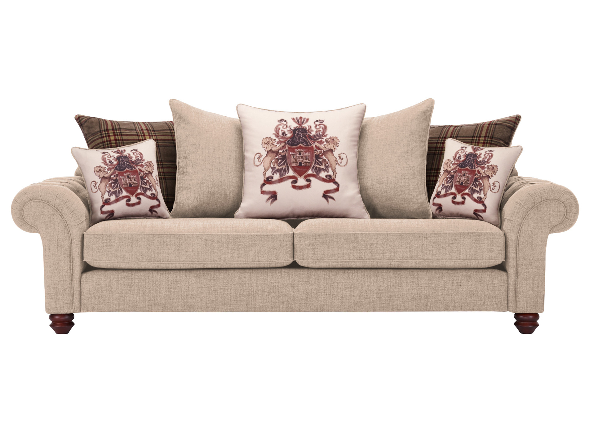 Most Recent Lyvia Pillowback Sofa Sectional Sofas Inside Sandringham 4 Seater Pillow Back Sofa In Beige With Brown (View 5 of 25)