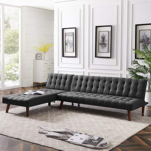 Most Recent Rhomtree Reversible Section Sofa Couch Futon Sleeper Within Felton Modern Style Pullout Sleeper Sofas Black (View 4 of 25)