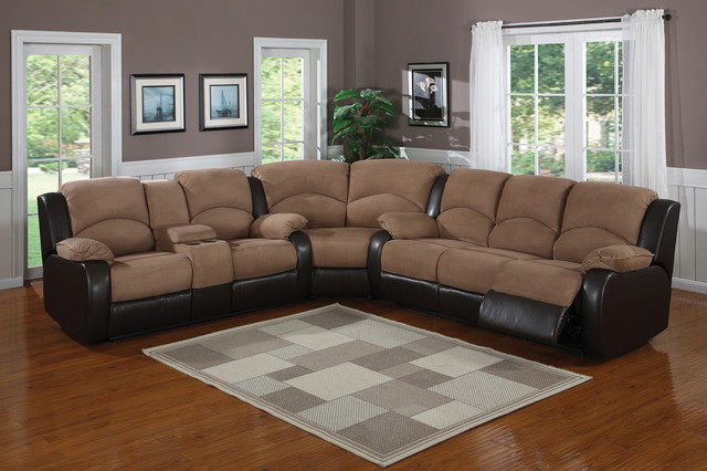 Most Recent – Saddle Brown Padded Microfiber Suede Reclining Sectional Throughout Dream Navy 3 Piece Modular Sofas (View 2 of 15)