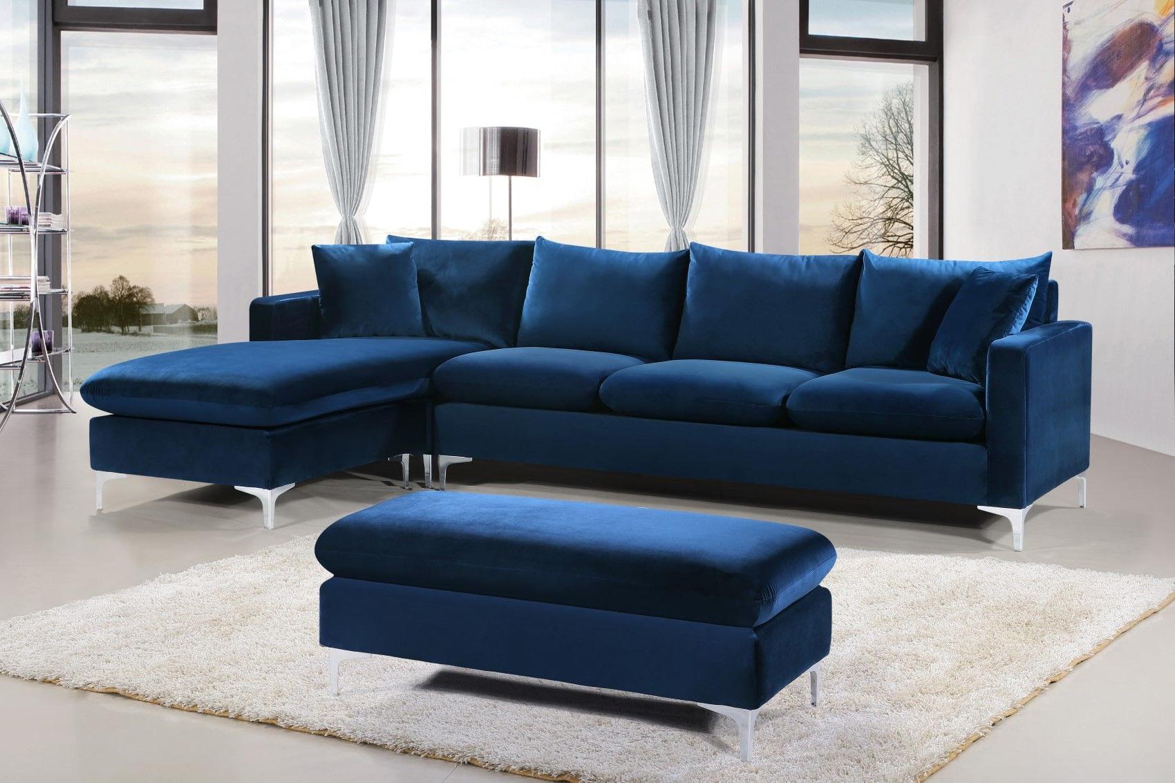 Most Recent Strummer Velvet Sectional Sofas Inside Selene Contemporary Plush Navy Blue Velvet Sectional Sofa (View 22 of 25)