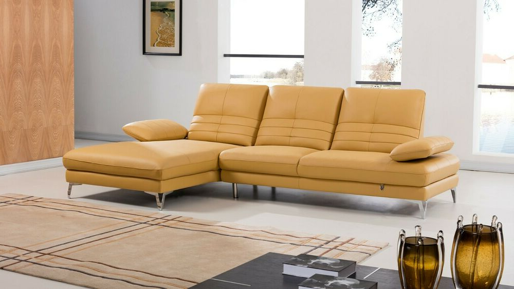 Most Recently Released 2Pc Modern Yellow Italian Top Grain Leather Sofa Chaise In 2Pc Burland Contemporary Chaise Sectional Sofas (View 9 of 25)