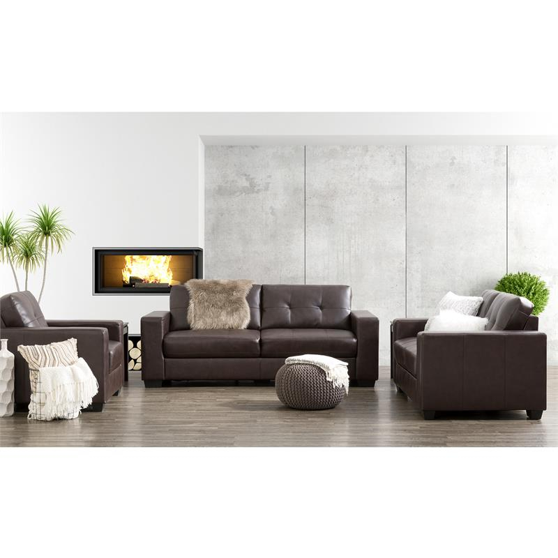 Most Recently Released 3Pc Bonded Leather Upholstered Wooden Sectional Sofas Brown Pertaining To Corliving Club 3 Pc Chocolate Brown Tufted Bonded Leather (View 18 of 25)