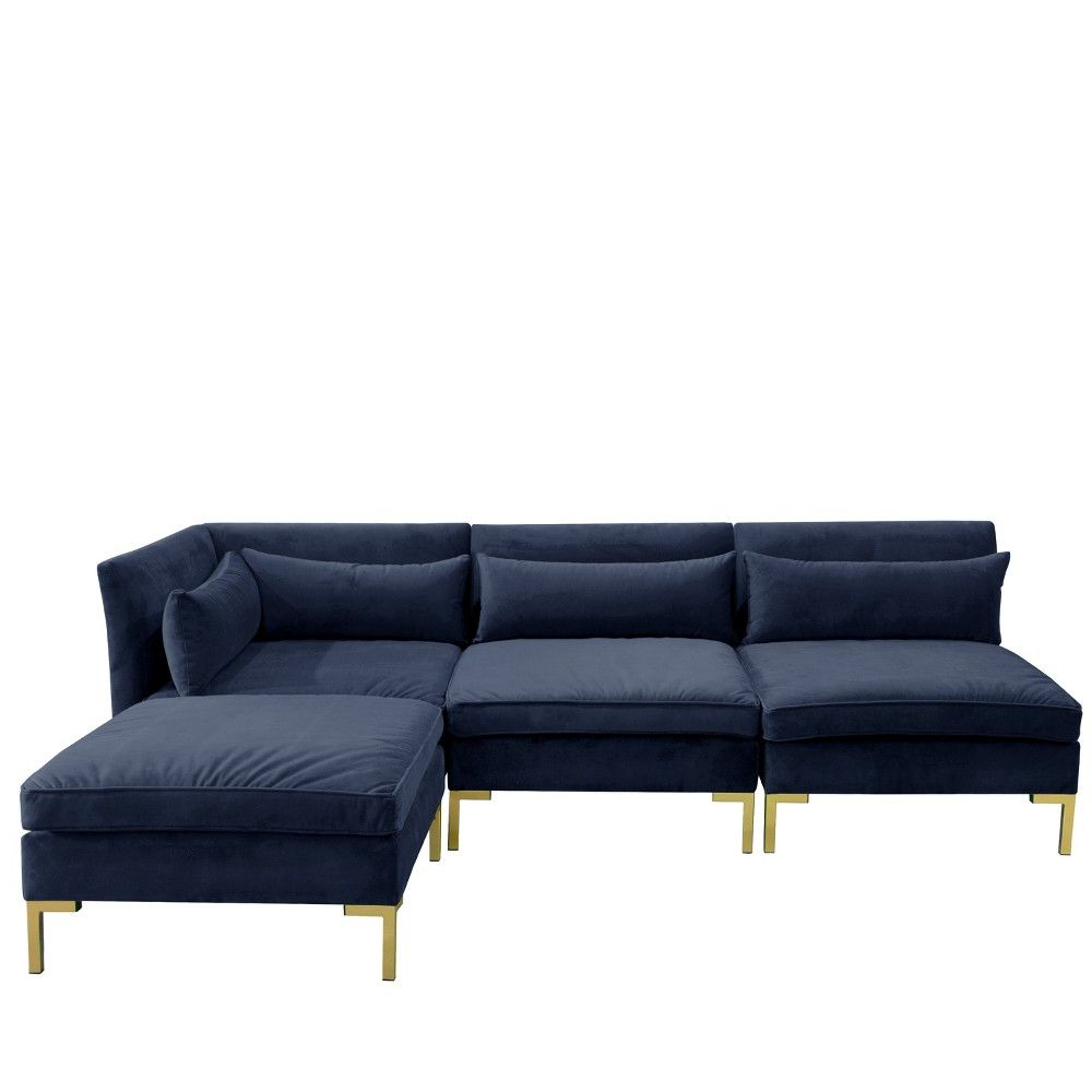 Most Recently Released 4Pc Alexis Sectional Sofas With Silver Metal Y Legs For 4Pc Alexis Sectional With Brass Metal Y Legs Navy Velvet (View 5 of 25)