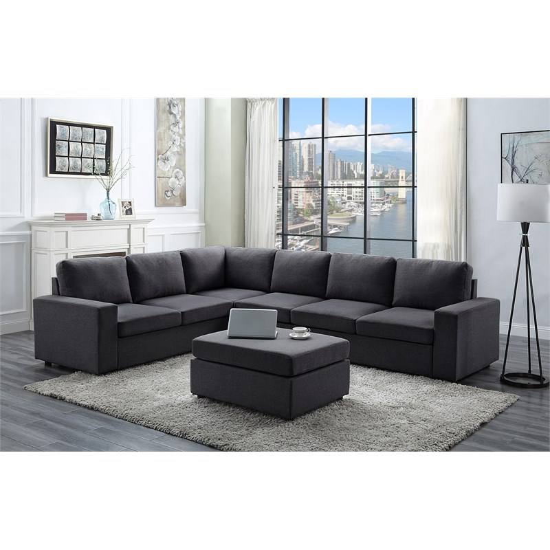 Most Recently Released Bayside Modular Sectional Sofa With Ottoman In Dark Gray Regarding Polyfiber Linen Fabric Sectional Sofas Dark Gray (View 4 of 25)