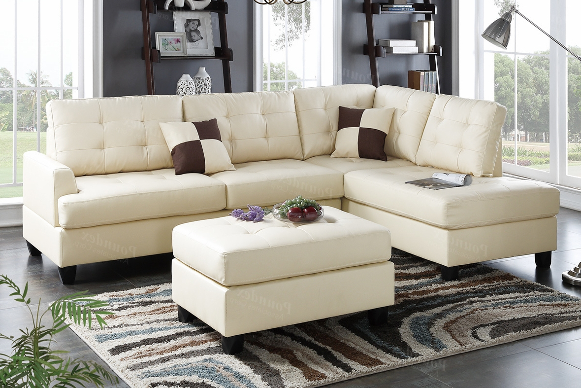 Most Recently Released Beige Sofas Inside Beige Leather Sectional Sofa And Ottoman – Steal A Sofa (View 6 of 15)