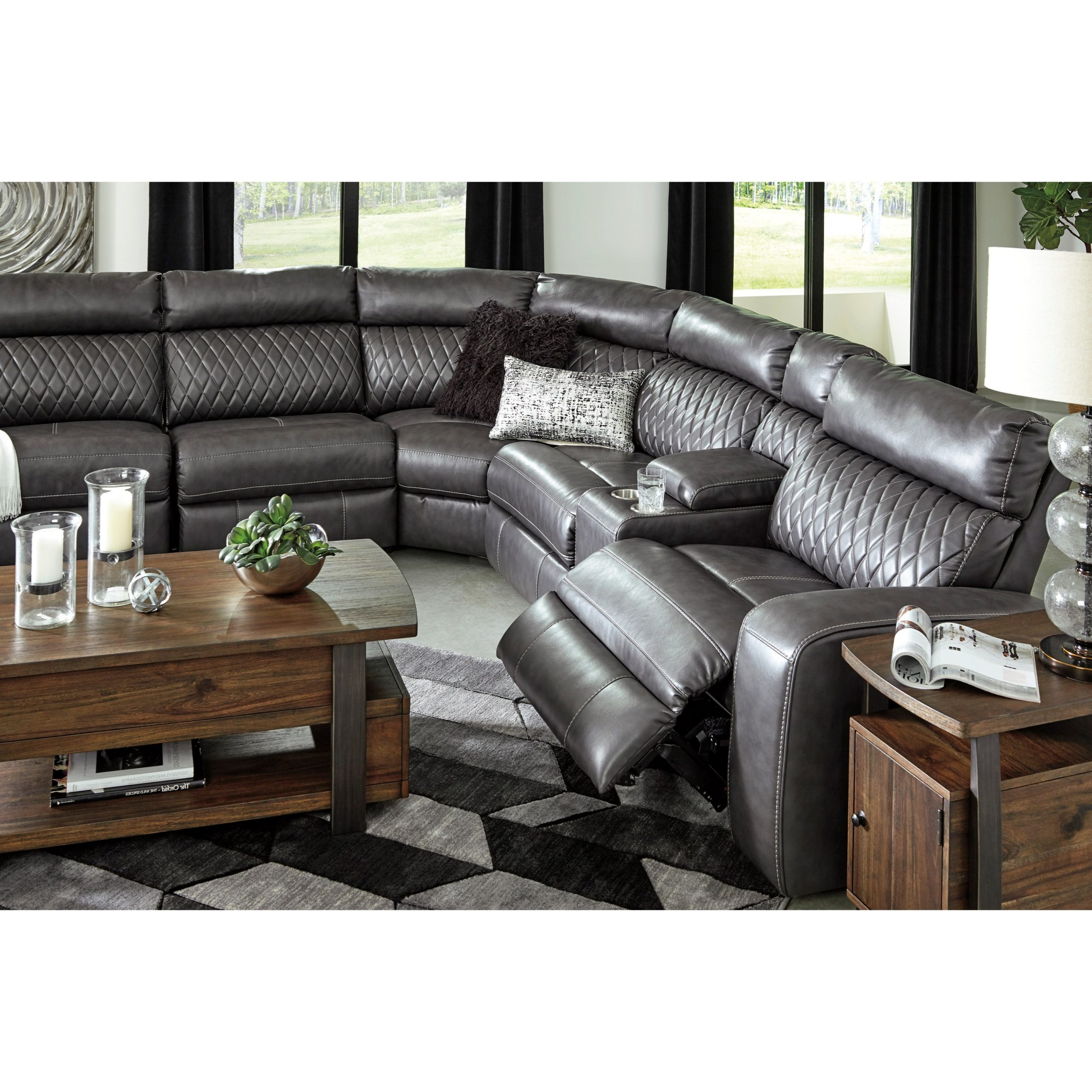 Most Recently Released Celine Sectional Futon Sofas With Storage Reclining Couch For Signature Designashley Samperstone Transitional Power (View 18 of 25)