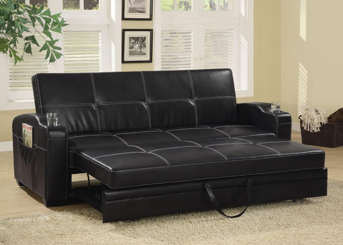 Most Recently Released Faux Leather Sofa Bed With Storage And Cup Holders From Throughout Liberty Sectional Futon Sofas With Storage (View 5 of 25)