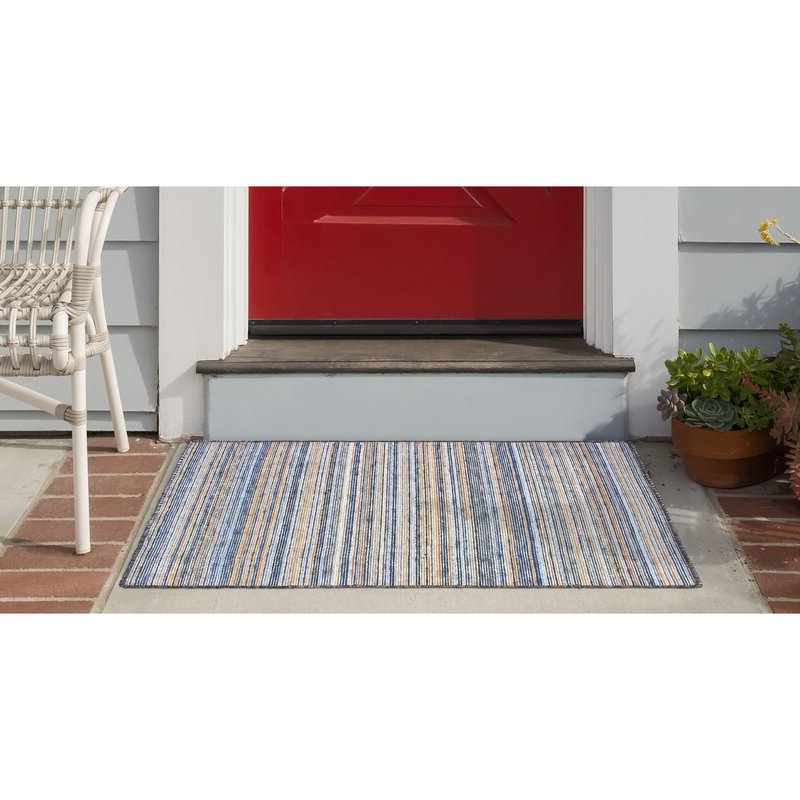 Most Recently Released Gracie Navy Sofas Throughout Gracie Oaks Ryan Striped Handmade Flatweave Navy Area Rug (View 2 of 15)