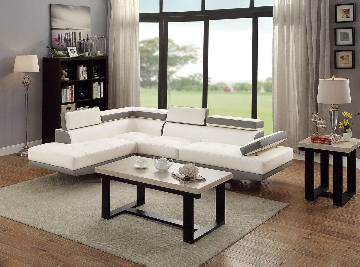 Most Recently Released Modern 2Pc Sectional Sofa White W Adjustable Head Rest With 2Pc Connel Modern Chaise Sectional Sofas Black (View 17 of 25)