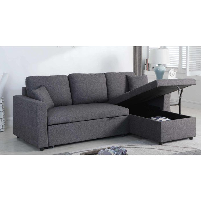 Most Recently Released Mullaney Reversible Storage Pull Out Bed Sleeper Sectional Within Hugo Chenille Upholstered Storage Sectional Futon Sofas (View 3 of 25)