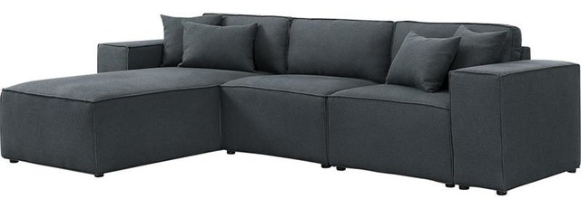 Most Recently Released Polyfiber Linen Fabric Sectional Sofas Dark Gray For Harvey Reversible Sectional Sofa Chaise In Dark Gray Linen (View 20 of 25)