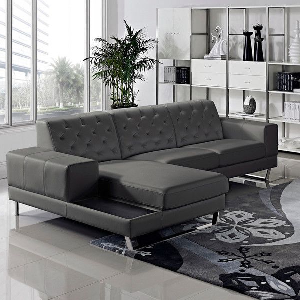 Most Recently Released Stella Contemporary Chaise Leather Sectional Sofa Set (View 12 of 25)