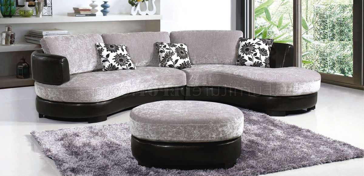 Most Recently Released Two Tone Grey & Black Modern Sectional Sofa W/Ottoman Intended For Noa Sectional Sofas With Ottoman Gray (View 25 of 25)