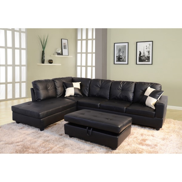 Most Up To Date 3Pc Faux Leather Sectional Sofas Brown Pertaining To Delma 3 Piece Faux Leather Right Chaise Sectional Set (View 7 of 25)