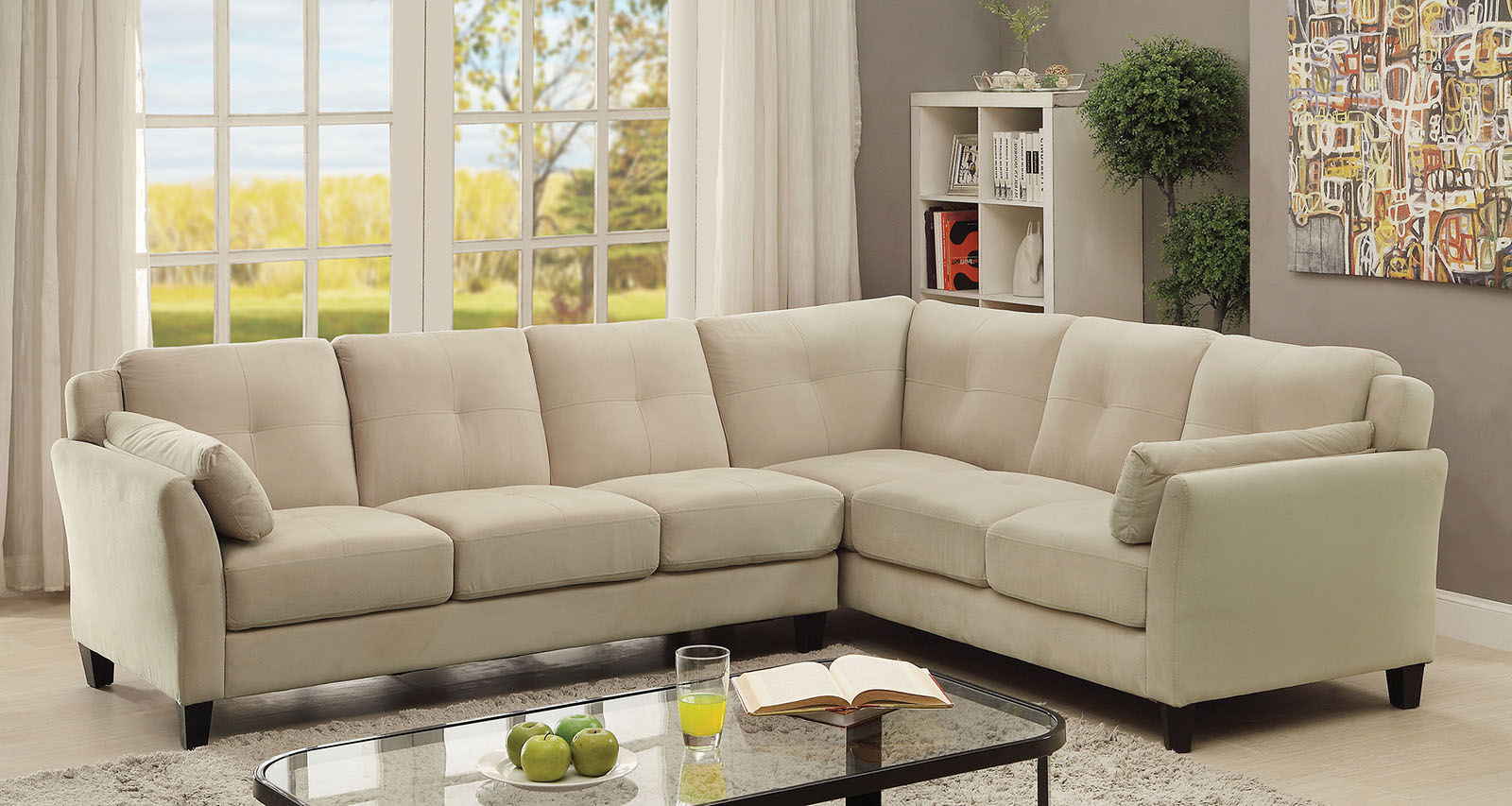 Most Up To Date Beige Sofas Intended For 6368Bg Beige Contemporary Sectional Sofa Furniture Of (View 14 of 15)