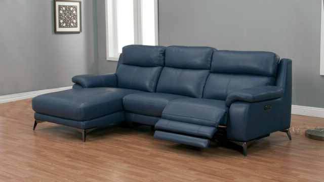 Most Up To Date Bloutop Upholstered Sectional Sofas In 2Pc Modern Blue Top Grain Cow Hide Power Recliner Sofa (View 5 of 25)