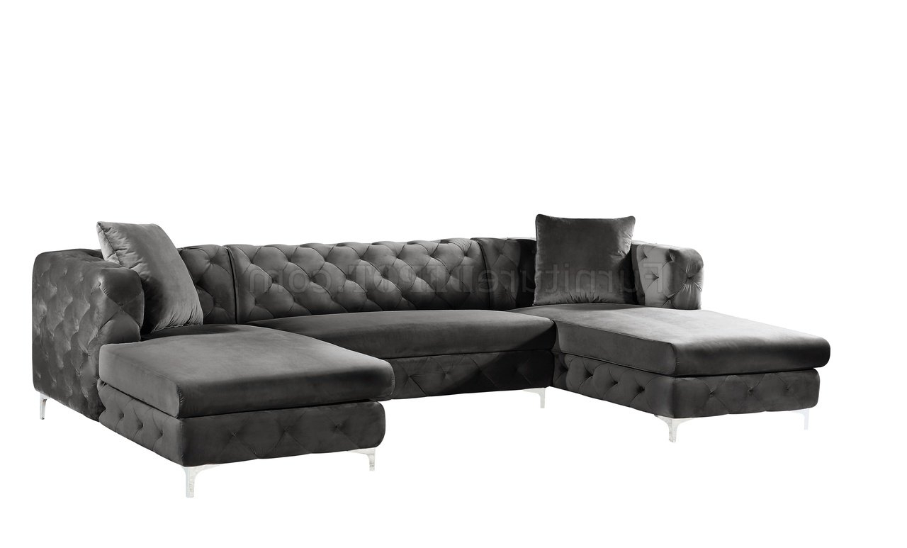 Most Up To Date French Seamed Sectional Sofas In Velvet Pertaining To Gail Sectional Sofa 664 In Grey Velvet Fabricmeridian (View 6 of 25)