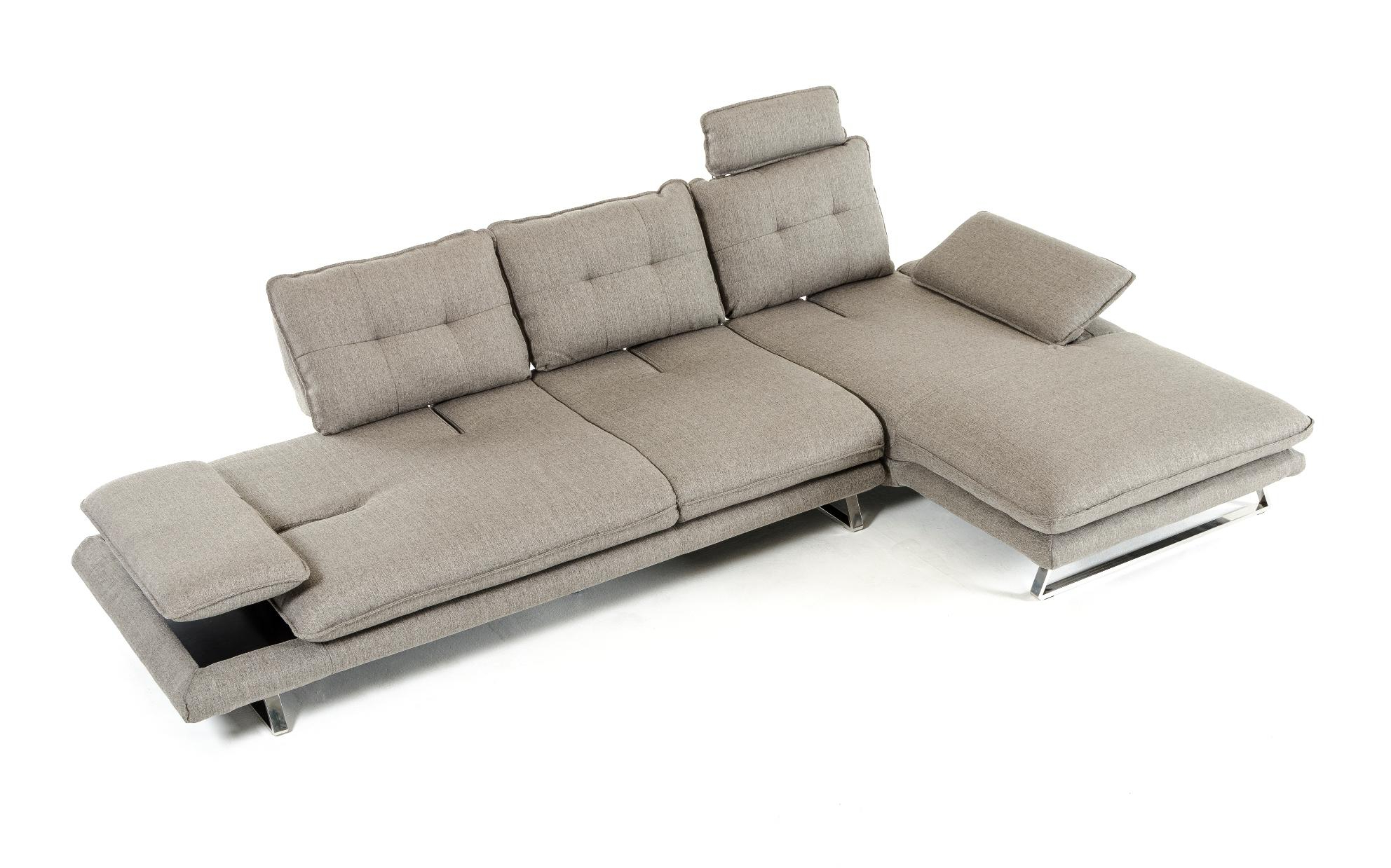 Most Up To Date Grey Fabric Tufted Sectional Sofa Vig Divani Casa Porter Within 2Pc Connel Modern Chaise Sectional Sofas Black (View 15 of 25)