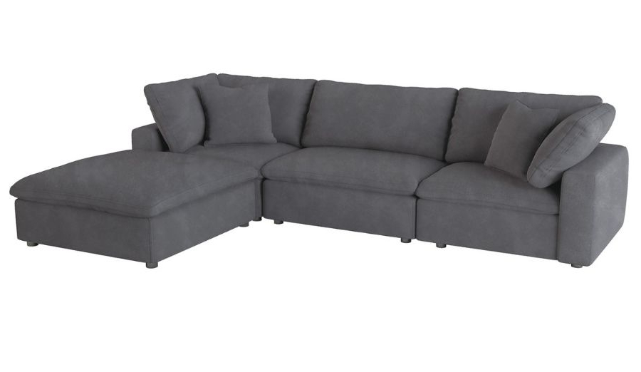 Most Up To Date Homelegance 9546Gy 4Pc 4 Pc Guthrie Gray Fabric Down Intended For 4Pc Beckett Contemporary Sectional Sofas And Ottoman Sets (View 13 of 25)